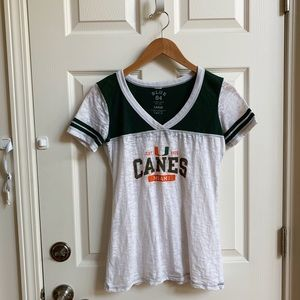 University of Miami fitted burnout tee, size L